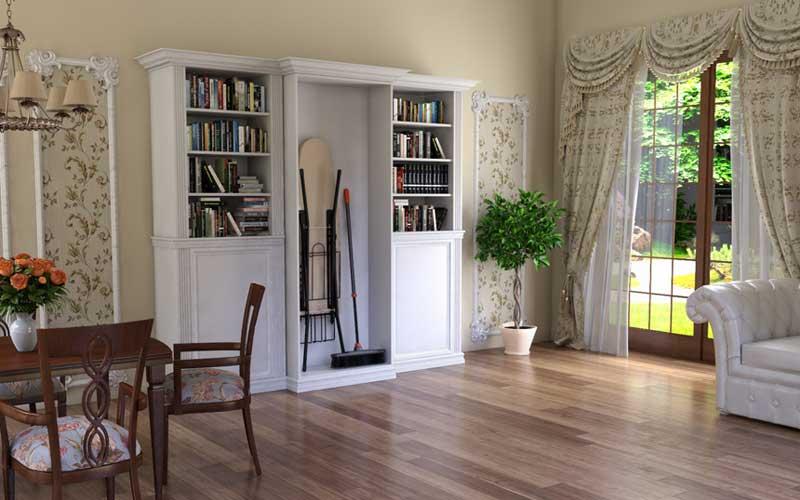 libreria in legno con comparto