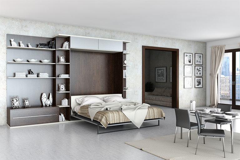 parete attrezzata soggiorno con letto a scomparsa